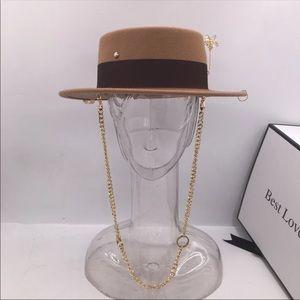 Wool chain strap felt canotier hat